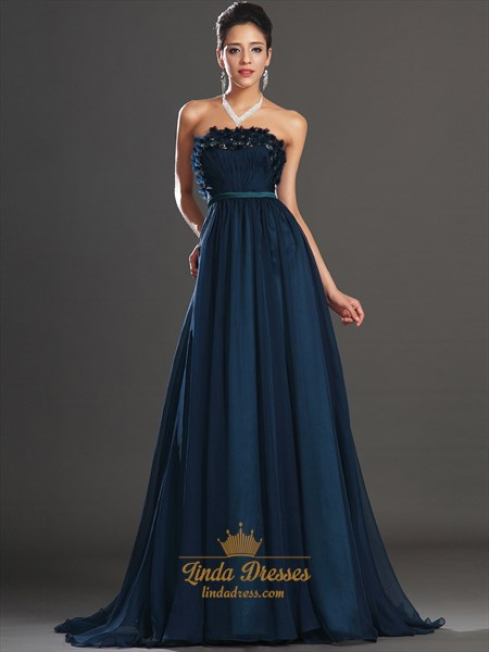 Navy Blue Strapless A Line Chiffon Prom Dress With Embellished Bodice