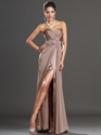 Show details for Coffee Chiffon Sweetheart Strapless Beaded Waist Prom Dress With Slits