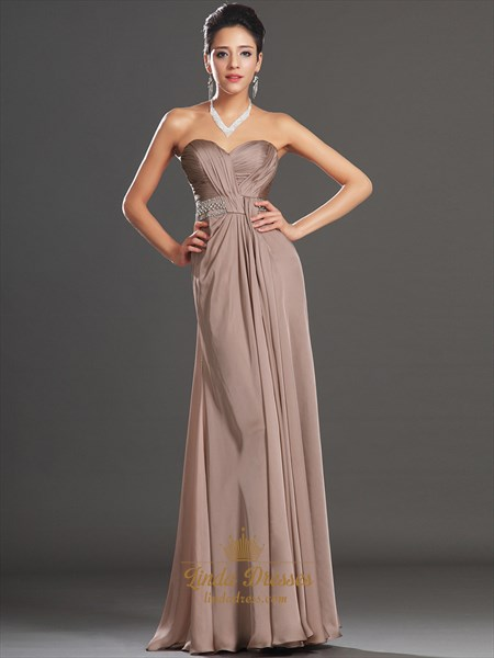 Coffee Chiffon Sweetheart Strapless Beaded Waist Prom Dress With Slits