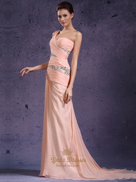 Dusty Pink V-Neck Empire Cinkle Prom Dress With Petals Embellishments