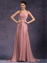Show details for Peach One Shoulder Side Drped A Line Chiffon Prom Dress With Beading
