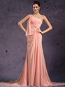 Show details for Peach Beaded One Shoulder Chiffon Sheath Prom Dress With Side Drape