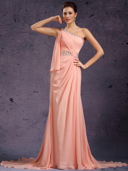 Peach Beaded One Shoulder Chiffon Sheath Prom Dress With Side Drape