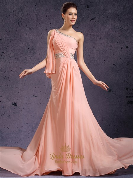 Peach Beaded One Shoulder Chiffon Sheath Prom Dress With Side Drape
