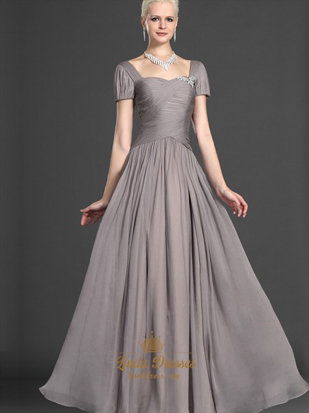 Gray Chiffon Short Sleeves Mother Of The Bride Dress With Beaded Detail