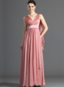 Coral V-Neck Floor Length Chiffon Prom Dress With Watteau Train