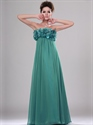 Show details for Green Chiffon Strapless Floral Bodice Prom Dress With Ruffle Detail