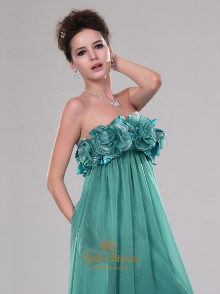 Green Chiffon Strapless Floral Bodice Prom Dress With Ruffle Detail
