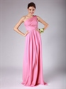 Show details for Pink One Shoulder A-Line Chiffon Bridesmaid Dress With Ruching