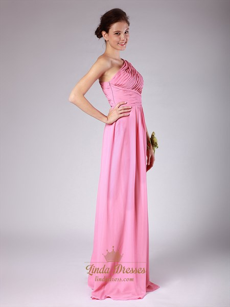 Pink One Shoulder A-Line Chiffon Bridesmaid Dress With Ruching