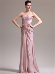 Skin Pink Sweetheart Strapless Chiffon Prom Dress With Pleated Bodice