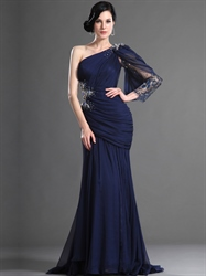 Navy Blue One Shoulder Chiffon Prom Dress With Asymmetrical Draping