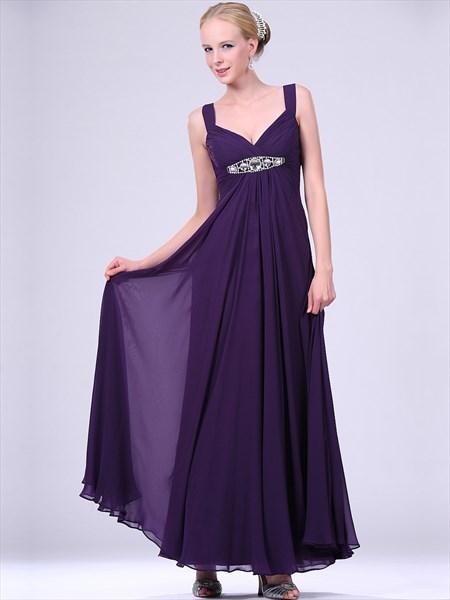 Purple V Neck Empire Waist Chiffon Prom Dress With Beaded Waistband