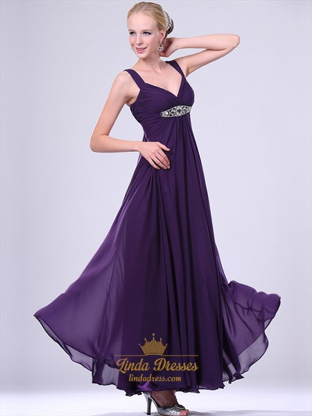 Purple V Neck Empire Waist Chiffon Prom Dress With Beaded Waistband