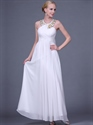 Show details for White Chiffon Long Prom Dresses With Gold Beaded Jewelled Neckline