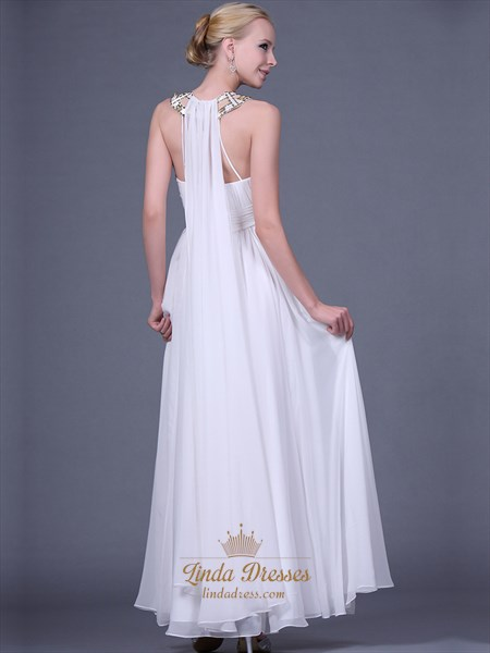 White Chiffon Long Prom Dresses With Gold Beaded Jewelled Neckline