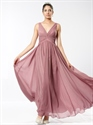 Show details for Pastel Pink V Neck Sleeveless Crinkle Chiffon Dress With Twist Front