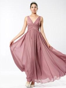 Pastel Pink V Neck Sleeveless Crinkle Chiffon Dress With Twist Front