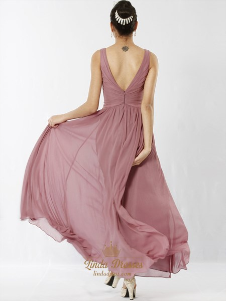 Pastel Pink V Neck Sleeveless Crinkle Chiffon Dress With Twist Front