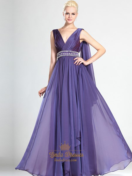 Purple Sleeveless Beaded Chiffon Prom Dress With Cascading Detail