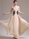 Show details for Champagne Flowy One Shoulder Chiffon Prom Dress With Lace Appliques