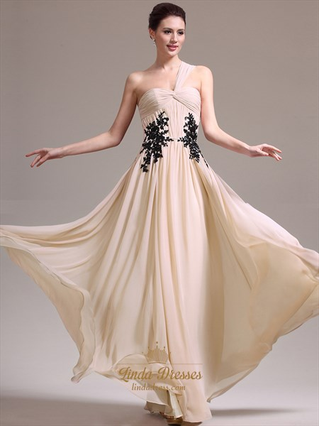 Champagne Flowy One Shoulder Chiffon Prom Dress With Lace Appliques