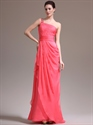 Show details for Watermelon One Shoulder Chiffon Prom Dress With Cascading Detail