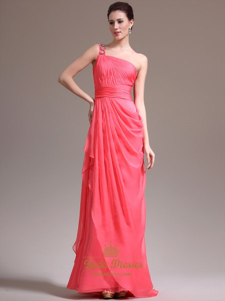 Watermelon One Shoulder Chiffon Prom Dress With Cascading Detail
