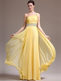 Yellow One Shoulder Chiffon Cascading Ruffle Prom Dress With Beading