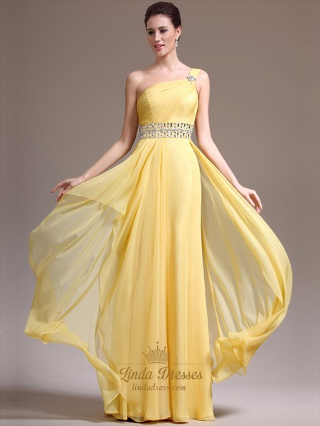 Yellow One Shoulder Chiffon Cascading Ruffle Prom Dress With Beading