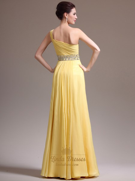 a51b82be4d97 Yellow One Shoulder Chiffon Cascading Ruffle Prom Dress With Beading ...