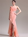 Show details for Peach One Shoulder Chiffon Beaded Detail Prom Dress With Split Front Skirt