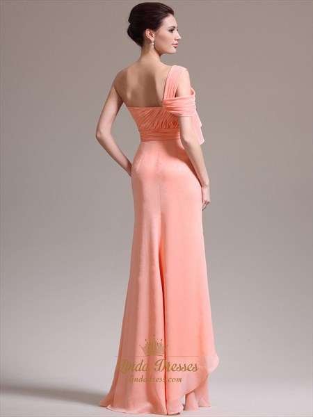 Peach One Shoulder Chiffon Beaded Detail Prom Dress With Split Front Skirt