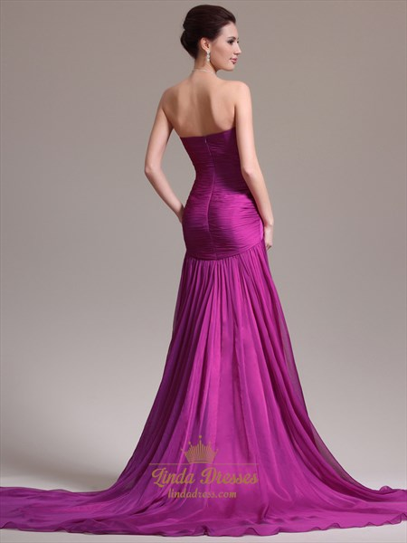 Fuchsia Chiffon Sweetheart Strapless Prom Dress With Sweep Train