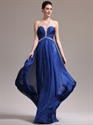 Show details for Royal Blue Strapless Ruched Bodice Chiffon Prom Dress With Beaded Detail