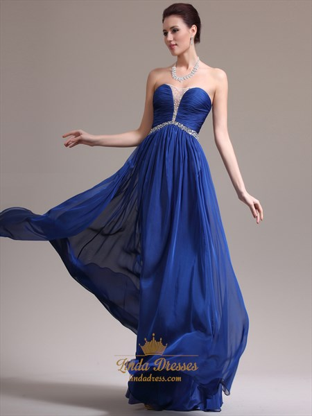 Royal Blue Strapless Ruched Bodice Chiffon Prom Dress With Beaded Detail