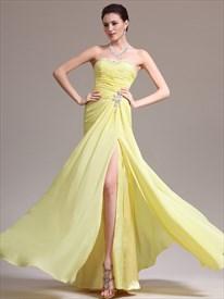 Yellow Strapless Beaded Neckline Chiffon Prom Dress With Side Slits