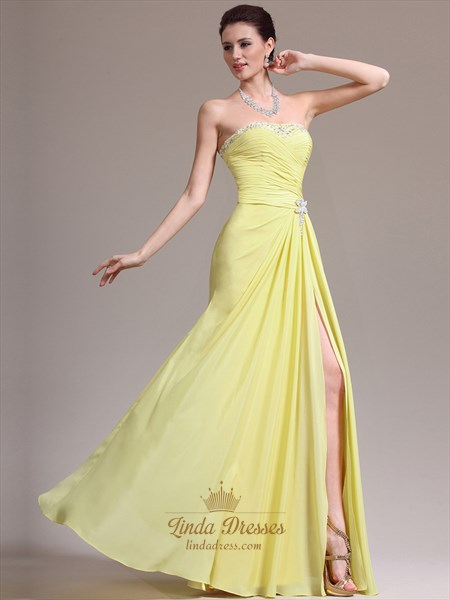 Yellow Strapless Beaded Neckline Chiffon Prom Dress With Side Slits