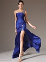 Show details for Royal Blue One Shoulder Chiffon High Split Prom Dress With Beaded Straps