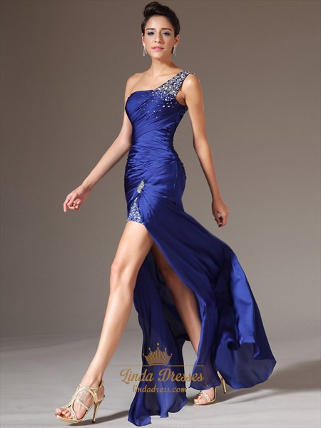 Royal Blue One Shoulder Chiffon High Split Prom Dress With Beaded Straps
