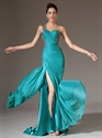 Show details for Turquoise One Shoulder Applique Ruching Chiffon Prom Dress With Slits