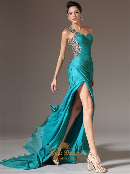 Turquoise One Shoulder Applique Ruching Chiffon Prom Dress With Slits