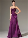 Show details for Grape Strapless Pleated Bodice Chiffon Prom Dress With Beaded Detail