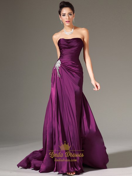 Grape Strapless Pleated Bodice Chiffon Prom Dress With Beaded Detail