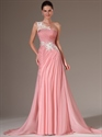 Pink Chiffon A Line One Shoulder Prom Dress With Floral Appliques