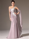 Show details for Dusty Pink One Shoulder Floral Appliques Prom Dress With Watteau Train
