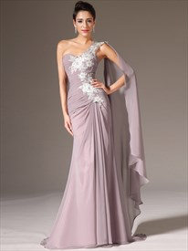 Dusty Pink One Shoulder Floral Appliques Prom Dress With Watteau Train