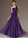 Show details for Purple A Line One Shoulder Chiffon Prom Dress With Beaded Detail