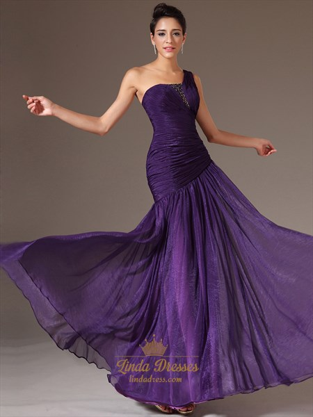 Purple A Line One Shoulder Chiffon Prom Dress With Beaded Detail