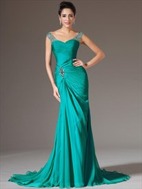 Turquoise Sheath Straps Chiffon Prom Dress With Beaded Cap Sleeves